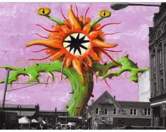 "Detroit Kaiju Death Flower Day at Eastern Market Monster 5x7 Print ""Shinohana"" Original Art Print by Pete Coe"