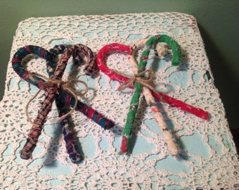 Set of Three Rag Candy Canes
