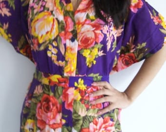 Cotton, Floral Front Button Closure Kaftan Caftan- Perfect as bridesmaids gifts, robes, beachwear, nursing, dressing gown