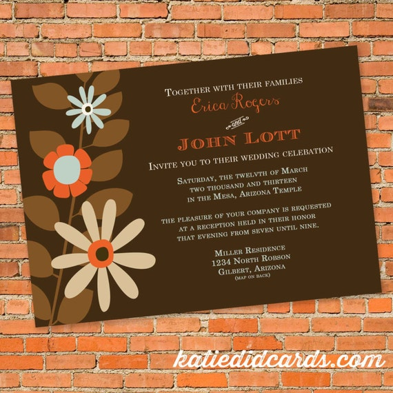 Couples Bridal Invitation floral chic invite I do BBQ engagement party co-ed party invite save the date postcard gay 308 Katiedid Designs