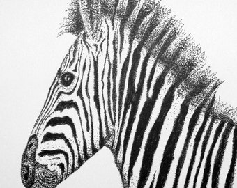 Instant Download of  Zebra Pointillism Drawing for Personal Use or Scroll Saw Pattern