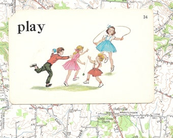 PLAY/kids/park/recess/action/ Vintage Vocabulary Flashcard
