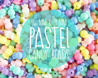 NEW 16mm x 9mm Pastel CANDY SHAPE beads. Plastic / Resin - 50 pieces