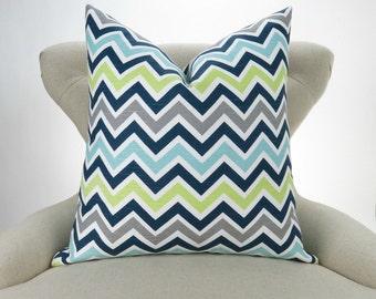 Blue & Green Zigzag Pillow -MANY SIZES- Chevron throw, Lime Green, Navy Blue, Aqua, Gray, Beach Decor, Zoom zoom Canal Pemier Prints