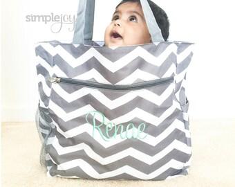 Chevron Diaper Bag, Gray Diaper Bag, Multipurpose Tote Bag, Beach Bag, Chevron Shoulder Bag, Monogrammed Gift, Work Bag, Gift for her, Mom