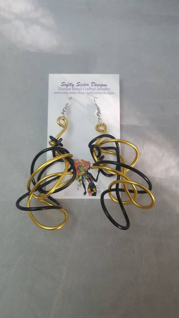 Colored Wire Earrings Wire Wrapped Earrings Aluminum Wire