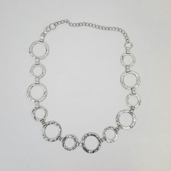 Womens Silver Chain Belt - 80s 90s Vintage Belt - Metal Glam Adjustable Link Belt Small Medium - Classic Circle Link Chain Belt