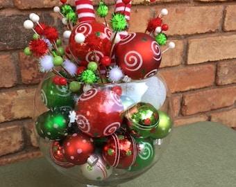 ornament elf table arrangement