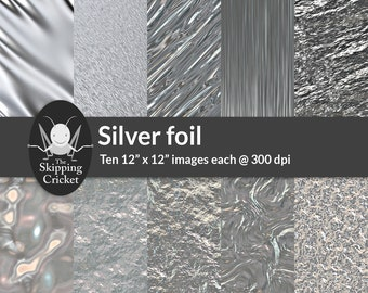 Silver foil, aluminium foil effect digital backgrounds great for scrapbooking,  crumpled, stretched & crinkled silver paper-INSTANT DOWNLOAD
