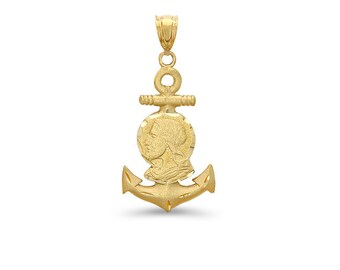 14k solid gold jesus head on anchor. religious jewelry.