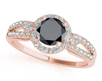 1.25 Ct. Halo Black Diamond Engagement Ring In 14k Gold