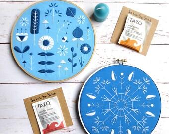 Mother's Day Gift Box Set, Blue Stitch Sampler Kit, Beginner Embroidery Kit, Scandinavian Modern, Gift Bundle, Gift Set, DIY Kits for Adults