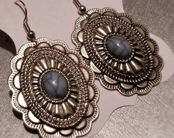 Oval Turquoise and Silver Medallion Earrings