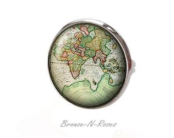 Ring ° ° ° ° vintage retro green planet Earth nature globe Planisphere