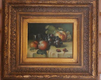 Fruit Still Life original oil on canvas by Vargas