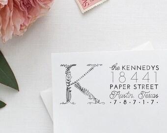Monogram Return Address Stamp Invitation Stamp Floral Stamp Boho Stamp Rubber Stamp Initial Address Stamp Housewarming Gift for Couple to Be