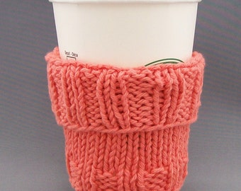 """Coffee Mug Cup Cozy Sleeve - Hand Knit - Honeysuckle Tangerine - fits a """"Short"""" or """"Grande"""" sized Coffee"""