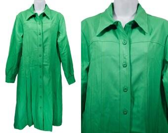 Vintage 60's Green Coat Pleated Dress M/L