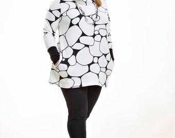 Organic Cotton Jersey Tunic with pockets - Pirunpelto (rocky shore)