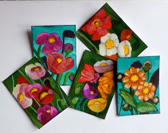 Set of 5 ACEOs, Original ACEO, Original acrylic, Flowers cards, Limited Edition, Miniature artwork, Colorful poppies, Poppy art