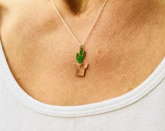 Cactus necklace, copper enamel cactus, succulent pendant, green enamel plant jewelry