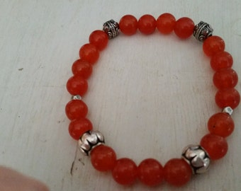 Orange Quartz Elasticated Bracelet