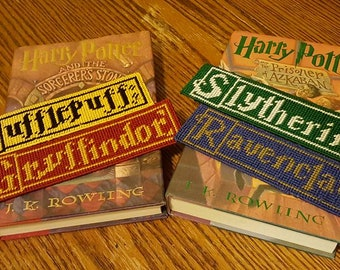 Harry Potter Hogwarts House Bookmarks (Plastic Canvas Stitched)