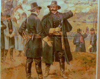 1897 Print Civil War General Burnside at Fredericksburg