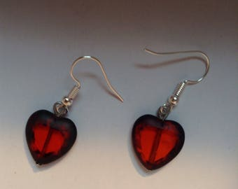 Handmade glass auburn hearts with a darker edge - French wire earrings. FREE US SHIPPING.