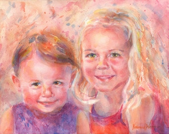 "11 x 14"" or 12 x 12"" Custom Portrait in Watercolor Two Subjects"