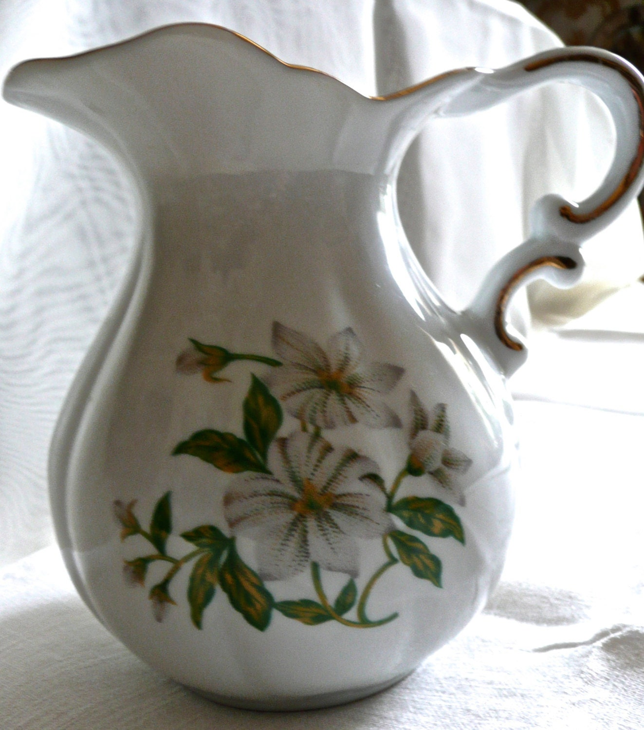Vintage Pitcher White Flowers Pattern Breakfast Cream Jug