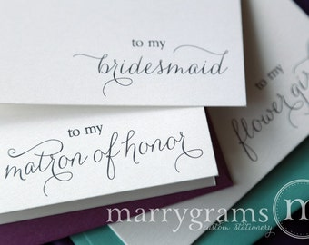 To My Bridesmaid, Maid of Honor, Wedding Party Wedding Thank You Cards- Thank You Bridesmaid Card, Matron of Honor (Set of 7) CS01