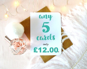 Special offer! Buy more, save more! Choose any 5 / five cards, mix and & match multi pack discount, multi buy offer, card bundle deal, UK
