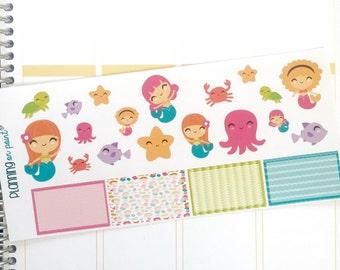 Mermaid and Friends Planner Stickers (fits Erin Condren)
