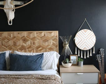 Geometric Headboard, Rustic Wooden Headboard, Modern Wood Headboard, Modern Headboard, Headboard, Wood Headboard