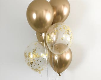 NEW Chrome Gold Balloons Gold Confetti Latex Balloons Gold Party Decor Bridal Shower Graduation Party Bachelorette Party Chrome Balloons