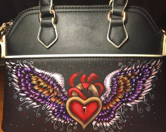 Womens  BLACK handbag -  Satchel hand painted with Heart-lock and wings!