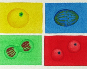 Mini Rainbow Mitosis  - original watercolor - cell cycle