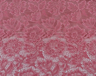 Coral Beauty Coleen Pattern Floral Stretch Lace Fabric by Yard - Style 647