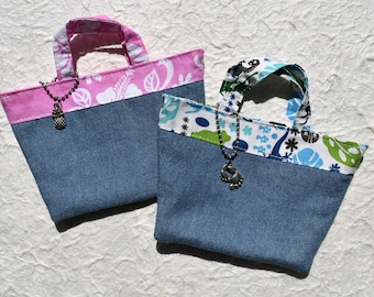 """SALE! Denim Tote Bags for 18"""" Dolls, Hawaiian Print Reversible Tote Bag for American Girl, Denim Tote with Charm for AG Dolls, Pink or Blue"""