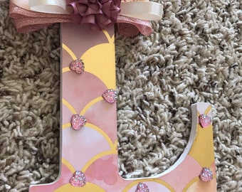 Nursery wall art, baby shower gift for baby girl, wooden letter L , baby name nursery decor, decorated and elegant baby letter.