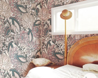 Bohemian Floral Removable Wallpaper / Traditional or Self adhesive Wallpaper