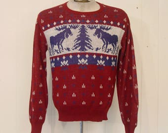 Vintage sweater, 1960s sweater, moose and snowflakes, vintage clothing, Medium