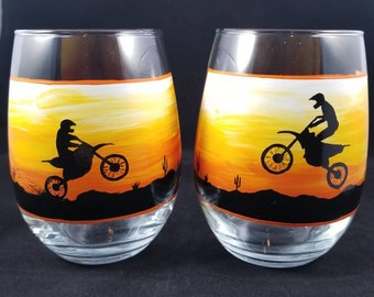 Off-road Motorcycle Dirt Bike Man Cave Hand Painted Stemless Wine Glasses Pair **FREE SHIPPING**