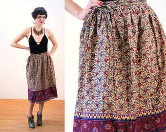 70s Pakistani Wrap Skirt S, Hippie Deadstock Vintage Cotton Border Print Floral Boho NOS New With Tags, Small