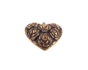 Gold Heart Pendant - Gold Heart Charm - Gold Rose Pendant - Gold Rose Charm - Antique Gold Charm - Brass Heart Charm - Gold Heart Necklace
