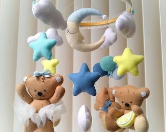 Baby mobile Ready for shipping Teddy bear mobile Crib mobile Nursery decor Felt mobile Cloud moon mobile Felt mobile Bears