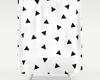 Geometric Shower Curtain, Triangles, Black and White Shower Curtain, Modern Bathroom Decor, Fabric Shower Curtain, Standard or Extra Long