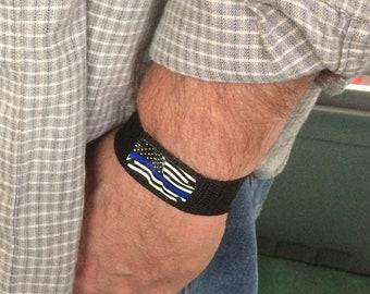 Thin blue line American flag bracelet, Police officer gift, Adjustable bracelet for men or women, Comfortable everyday jewelry, Easy on off