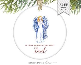 Memorial Ornament In Loving Memory of our Angel Dad Ornament Gift Personalized Angel Ornament Personalized Memorial Gift for Loss of Father
